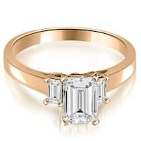 1.40 cttw. 14K Rose Gold Emerald Cut Three Stone Diamond Engagement Ring