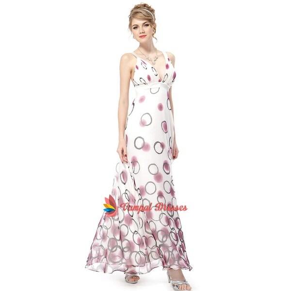 c2480e571fc544 Sex Deep V-Neck Criss Cross Back Floral Printed Empire Chiffon Long Evening  Dress