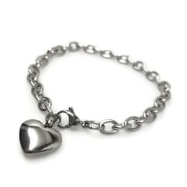 Loralyn Designs Stainless Steel Heart Charm Bracelet (6.5 - 8.5 Inch)