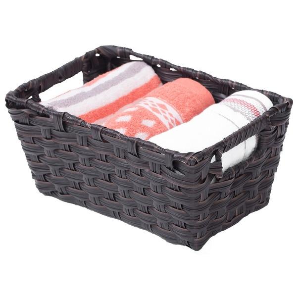 Black Plastic Wicker Shelf Basket Organizer. Opens flyout.