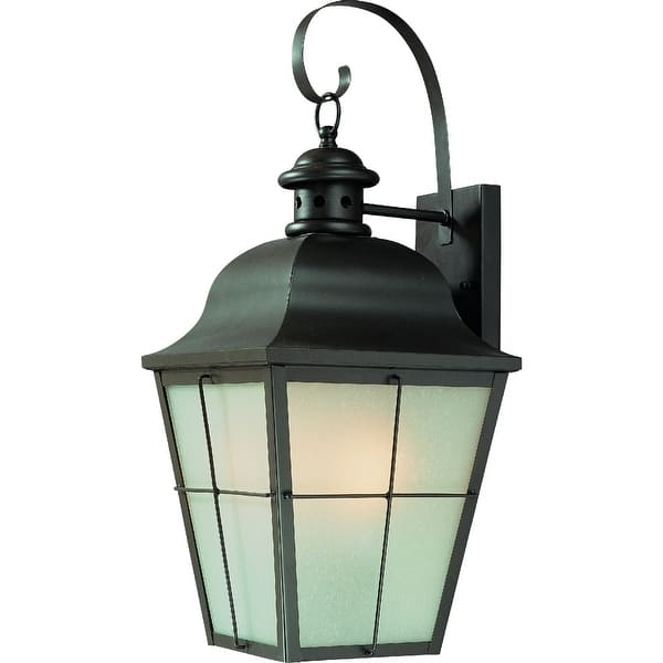 Antique Bronze and Glass Outdoor Wall Lantern