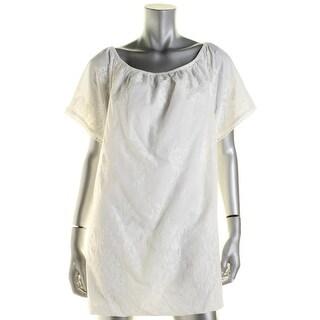 BB Dakota Womens Babydoll Dress Embroidered Off-The-Shoulder - s