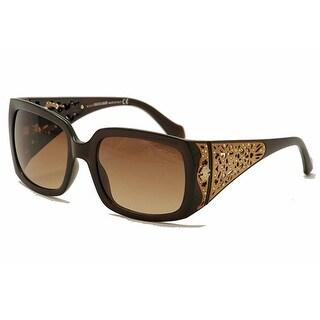 Roberto Cavalli RC804S-01B Women's Shiny Black Gradient Smoke Lens Sunglasses - Gold