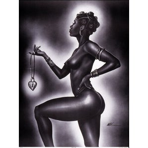 ''Lock and Key (Female)'' by WAK - Kevin A. Williams African American Art Print (30 x 22 in.)
