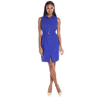 Ronni Nicole Belted Button Front Sleeveless Shirt Dress - 12