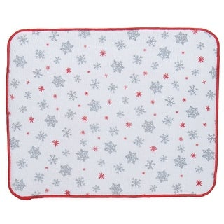 Holiday Sparkle Silver Snowflakes Microfiber Kitchen Countertop Drying Mat