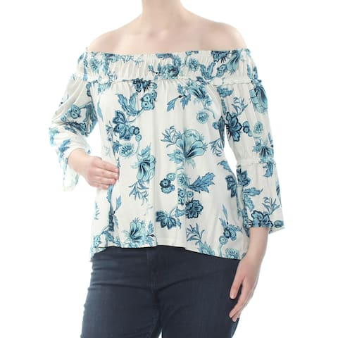 WILLIAM RAST Womens Ivory Floral 3/4 Sleeve Off Shoulder Peasant Top Size: XL