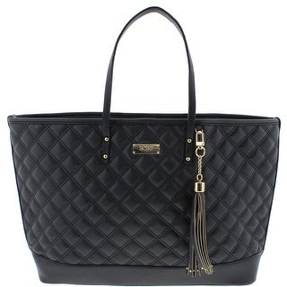 BCBG Paris Womens New Rise Faux Leather Quilted Tote Handbag - Black - Extra Large