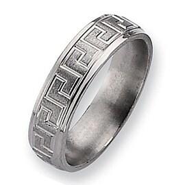 Chisel Ridged Edge Brushed and Polished Titanium Ring (6.0 mm)