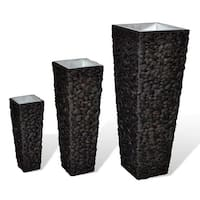 Plant Pot Set of 3 Water Hyacinth Planter Rattan Wicker Woven Brown Patio Deck