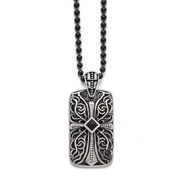 Chisel Stainless Steel Black Agate Dogtag Pendant - 30 in