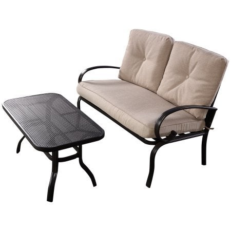 Costway 2 Pcs Patio Outdoor LoveSeat Coffee Table Set Furniture Bench With Cushion