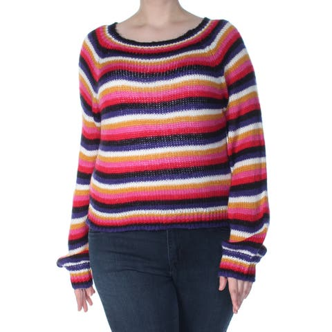 CRAVE FAME Womens Pink Striped Long Sleeve Jewel Neck Blouse Sweater Juniors Size: XL