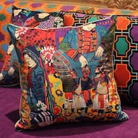 """Luxury Asian Ethnic Costume Colorful Pillow 18""""X18"""""""