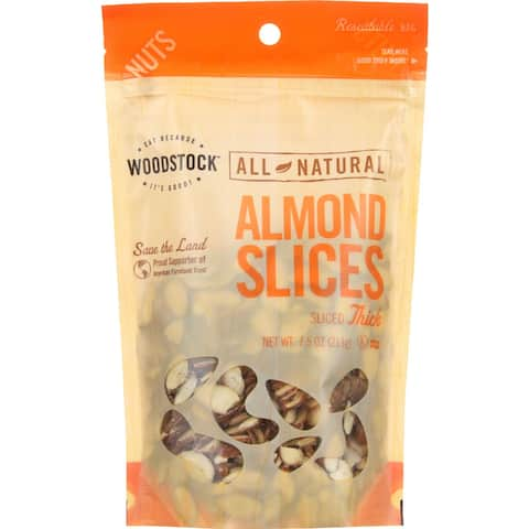 Woodstock Almonds - Thick Sliced - Raw - Case of 8 - 7.5 oz.