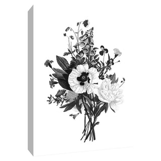 """PTM Images 9-148718  PTM Canvas Collection 10"""" x 8"""" - """"Botanical Black and White III"""" Giclee Flowers Art Print on Canvas"""