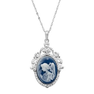 Crystaluxe Blue Angel Cameo Pendant with Swarovski Crystals in Rhodium-Plated Sterling Silver