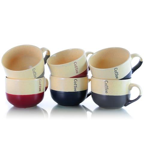 Elama Two Tone Speckled Latte Loft 6-Piece 18oz Mug Set in Misc Colors