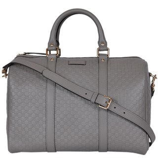 "Gucci Grey Leather 449646 Micro GG Guccissima Boston Bag Satchel W/Strap - 13"" x 9.5"" x 7"""