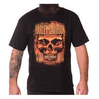 Harley-Davidson Men's Hardcore Flaming Skull Short Sleeve Crew T-Shirt, Black