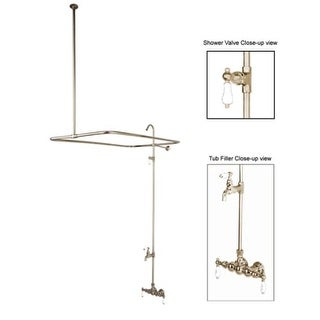 Elements Of Design DT0618CL Quadruple Handle Clawfoot Tub Filler and Shower System with H&C Porcelain Lever Handles from the Hot