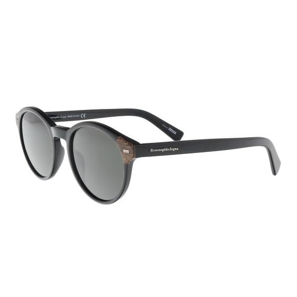 0854f9a57 Shop Ermenegildo Zegna EZ0081/S 01A Black Round Sunglasses - 51-20 ...
