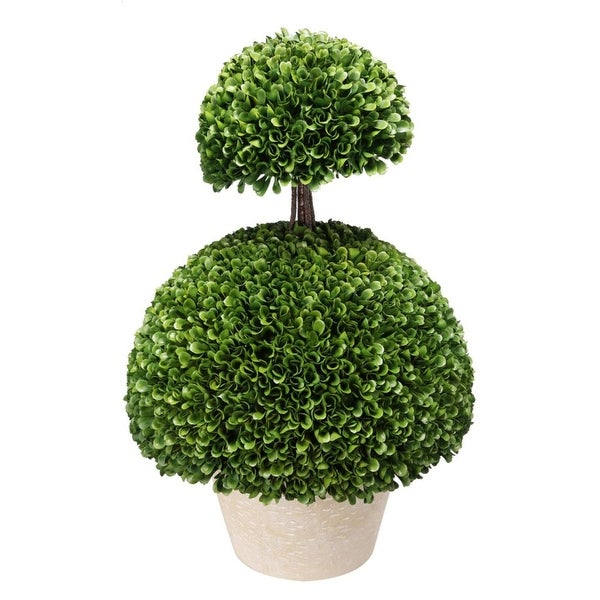 "24"" Green and White Artificial Boxwood Topiary Double Semi-Circles - N/A"