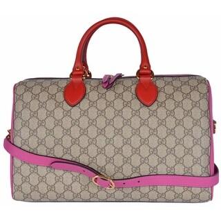 Gucci Women's 409527 GG Supreme Guccissima Convertible Boston Bag Purse - ebony beige