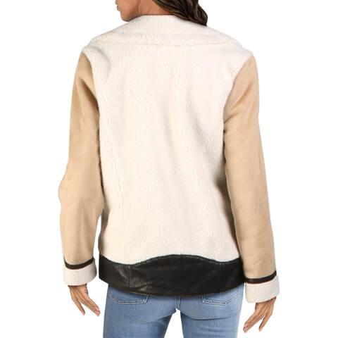 Aqua Womens Moto Coat Winter Faux Suede - Tan/White/Black