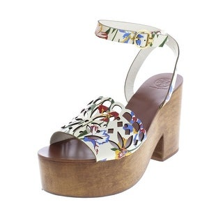Tory Burch Womens May Platform Sandals Leather Floral Print