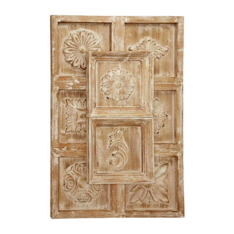 "Large Rectangular Natural Wood Wall Decor with Carved Framed Flowers and Whitewash Finish 32"" x 48"""