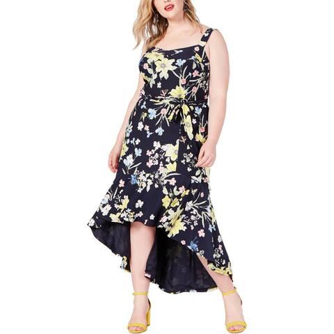 Rachel Rachel Roy Womens Plus Maxi Dress Floral Print Jersey - Navy