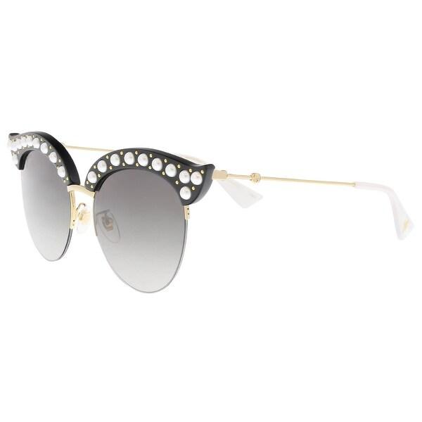 71a47bd94639f Shop Gucci GG0212S 001 Black Gold Cat Eye Sunglasses - Free Shipping ...