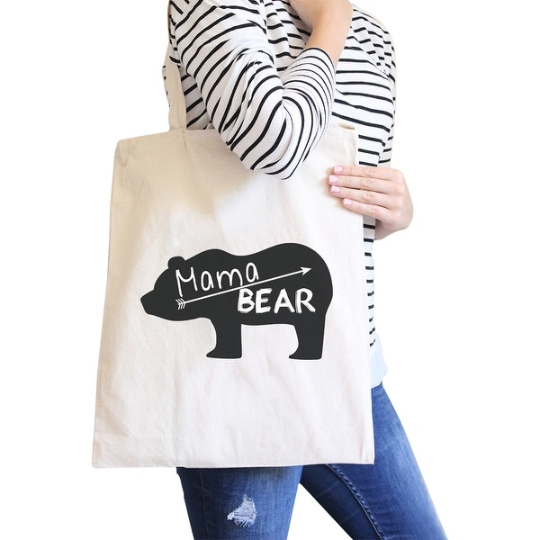 Mama Bear Natural Canvas Shoulder Bag Trendy Graphic Gift For Her