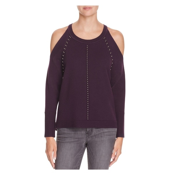 RAMY BROOK Womens New 1460 Purple Embellished Cut Out Sweater L. Opens flyout.