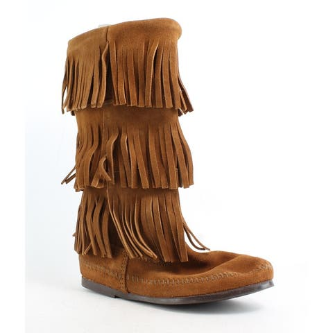 Minnetonka Womens Calf Hi 3-Layer Fringe Boot Brown Moccasin Boots Size 6