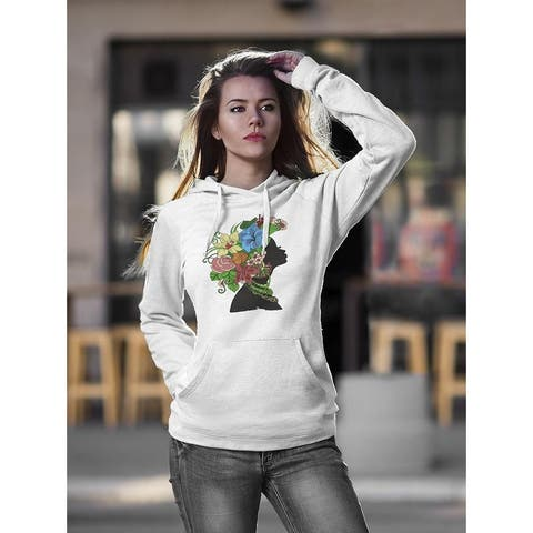 African Woman With Flowers Hoodie Women's -Image by Shutterstock