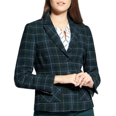 Basler Womens Three-Button Blazer Plaid Wool Blend - Grounded Greens