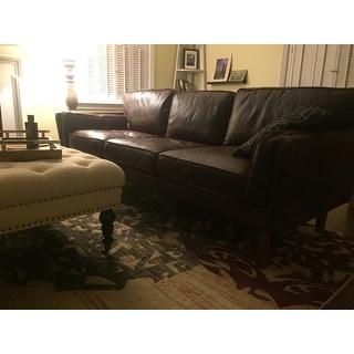 Carson Carrington Beatnik Leather Sofa Columbus Chocolate   Free Shipping  Today   Overstock.com   15780993