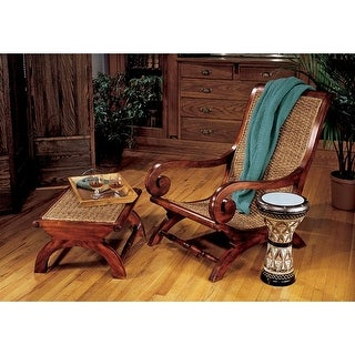 Design Toscano British Plantation Chair and Footstool - Chair: 24 x 29.5 x 35.5 Footstool: 24 x 19.5 x 12