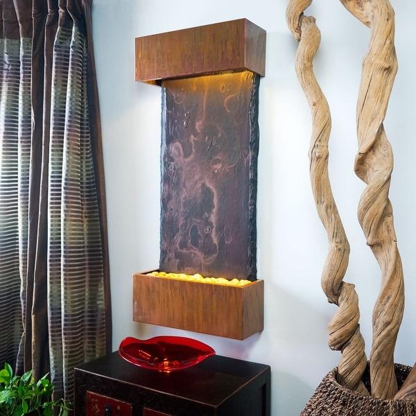 Nojoqui Falls Lightweight Indian Raja Slate Medium Wall Fountain (Patina Copper)