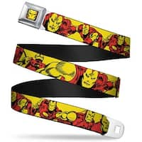 Marvel Comics Iron Man Face Full Color Red Yellow Iron Man Body Action Seatbelt Belt