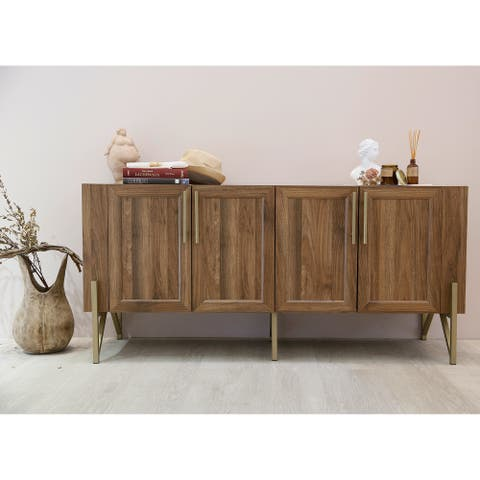 Roomfitters Walnut Mid Century TV Stand Media Console, Side Board, Office Cabinet, Gold Painted Legs and pulls