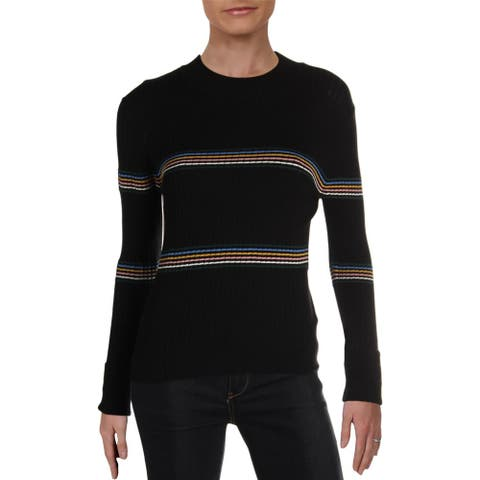 Lush Womens Pullover Sweater Striped Mock Neck - Black Multi - S