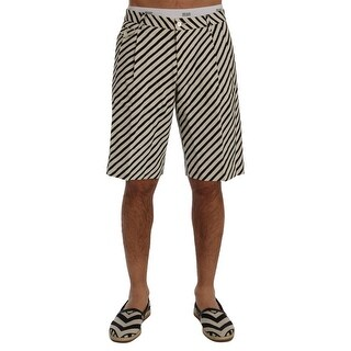 Dolce & Gabbana White Black Striped Hemp Casual Shorts