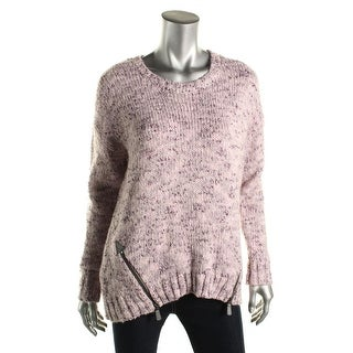 Kensie Womens Marled Side Zip Pullover Sweater - L