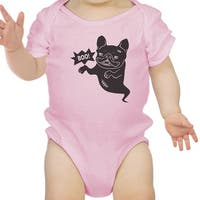 Boo French Bulldog Bodysuit First Halloween Baby Bodysuit Pink Cotton
