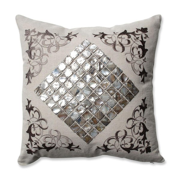 "16.5"" Mother of Pearl Decorative Throw Pillow with Filigree Detailing"