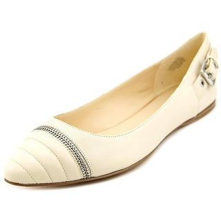 Nine West Savory Women Round Toe Leather Ivory Flats
