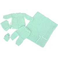 Baby Boy Girl Green Pants Hat Booties Sweater Blanket Newborn Set